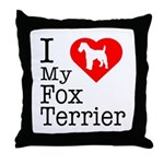 I Love My Fox Terrier Throw Pillow