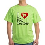I Love My Fox Terrier Green T-Shirt