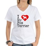 I Love My Fox Terrier Women's V-Neck T-Shirt