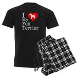 I Love My Fox Terrier Men's Dark Pajamas