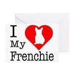 I Love My Frenchie Greeting Cards (Pk of 20)