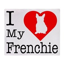 I Love My Frenchie Throw Blanket