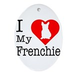 I Love My Frenchie Ornament (Oval)