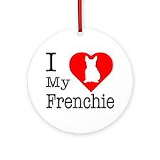 I Love My Frenchie Ornament (Round)