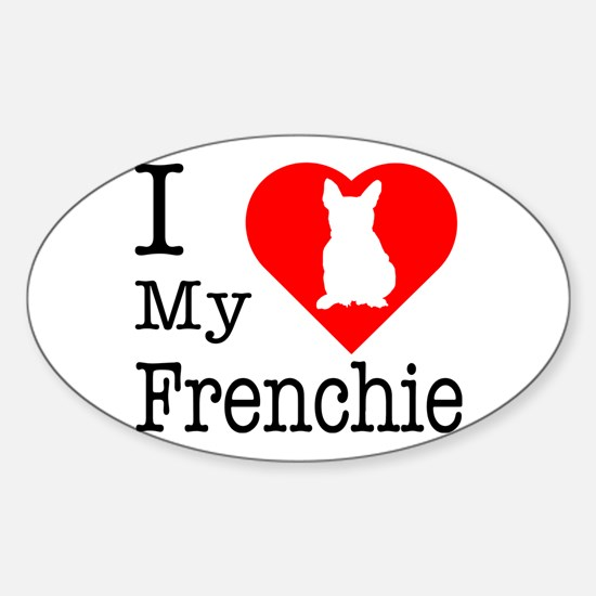 I Love My Frenchie Sticker (Oval)
