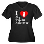 I Love My Golden Retriever Women's Plus Size V-Nec