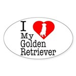 I Love My Golden Retriever Sticker (Oval)
