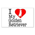I Love My Golden Retriever Sticker (Rectangle 10 p