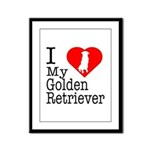 I Love My Golden Retriever Framed Panel Print