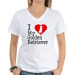 I Love My Golden Retriever Women's V-Neck T-Shirt