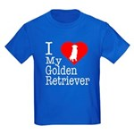 I Love My Golden Retriever Kids Dark T-Shirt