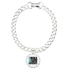 I Walk Ovarian Cancer Charm Bracelet, One Charm
