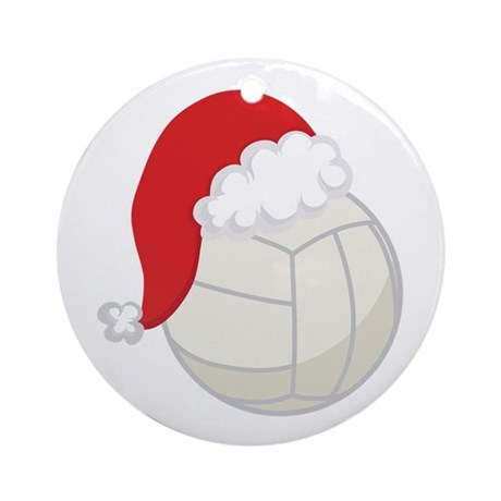 Volleyball Santa Gift Ornament (Round)