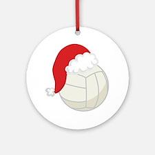 Volleyball Santa Gift Ornament (Round)