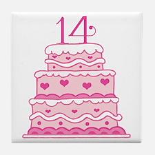 14th Anniversary Cake Tile Coaster