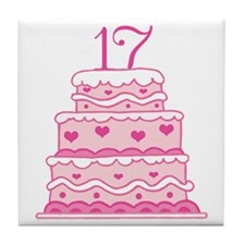 17th Anniversary Cake Tile Coaster