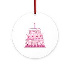 1st Anniversary Cake Ornament (Round)