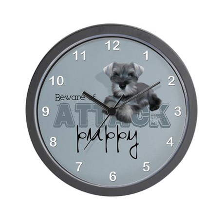 Schnauzer Puppy Wall Clock By Gatterwe