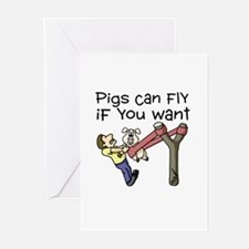 Pigs Fly Greeting Cards (Pk of 20)
