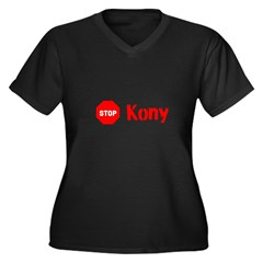 Stop Kony Sign Women's Plus Size V-Neck Dark T-Shi