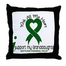 With All My Heart Cerebral Palsy Throw Pillow