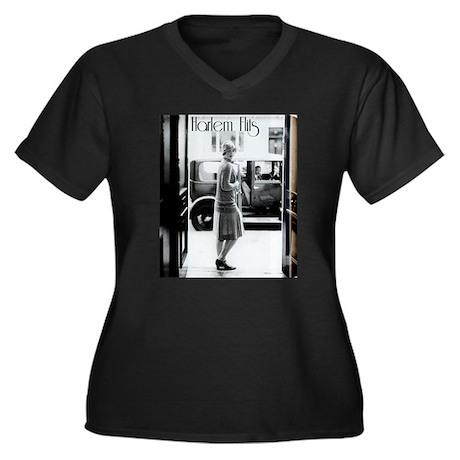 1920s Image Women's Plus Size V-Neck Dark T-Shirt