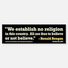 """""""Reagan Establish No Religion Sticker (Bumper)"""