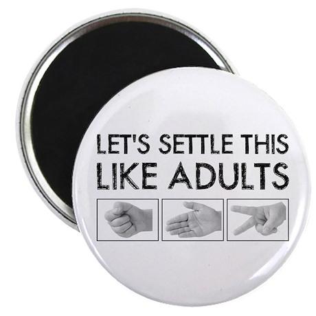 "Rock Paper Scissors: Like Adults 2.25"" Magnet"