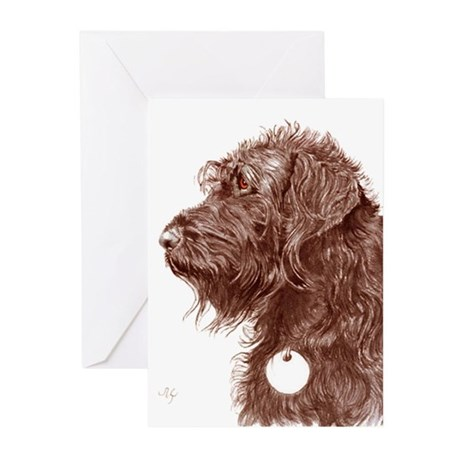 Chocolate Labradoodle 4 Greeting Cards (Pk of 10)