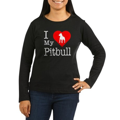 I Love My Pitbull Terrier Women's Long Sleeve Dark