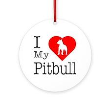 I Love My Pitbull Terrier Ornament (Round)