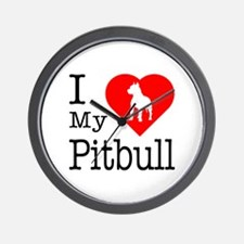 I Love My Pitbull Terrier Wall Clock