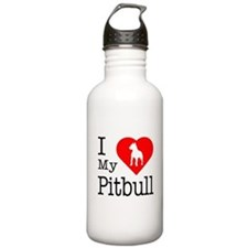 I Love My Pitbull Terrier Water Bottle