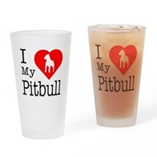 I Love My Pitbull Terrier Drinking Glass