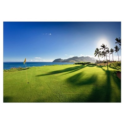 Golf flag in a golf course, Kauai Lagoons, Kauai, Framed Print