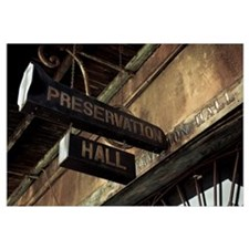 Signboard on a building, Preservation Hall, French