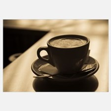 Close up of a cup of cappuccino, Lugano, Lake Luga