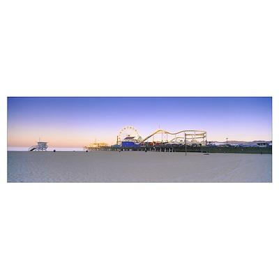 Ferris wheel lit up at dusk, Santa Monica Beach, S Poster