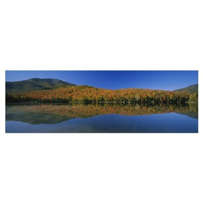 Reflection of trees and hill in a lake, Heart Lake Framed Print