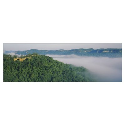 High angle view of trees on hills, Double Arch, Da Poster
