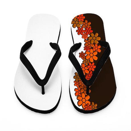 Flowers ~ Red & Brown Flip Flops