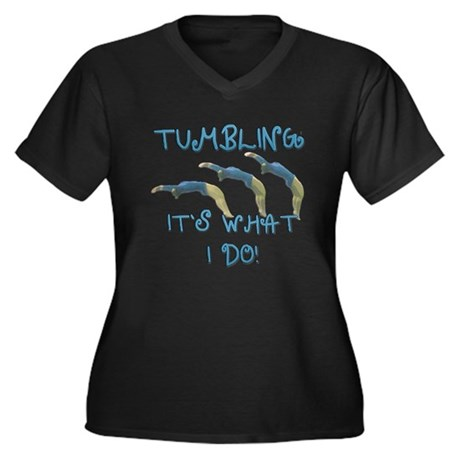 Tumbling Gymnast Women's Plus Size V-Neck Dark T-S