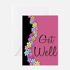 Flowers~ Pink & Black Greeting Card