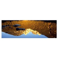 Reflection of mountains in a lake, Taggart Lake, T Poster