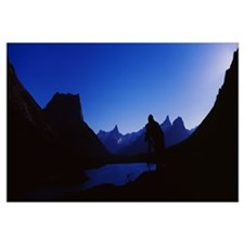Silhouette of a mountain range at dusk, St. Mary L