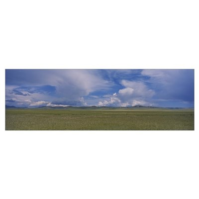 Panoramic view of a steppe, Independent Mongolia Poster