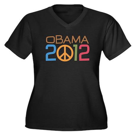 Obama Peace Sign Women's Plus Size V-Neck Dark T-S