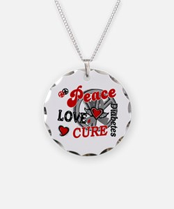 Peace Love Cure 2 Diabetes Necklace Circle Charm