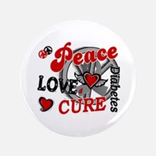 "Peace Love Cure 2 Diabetes 3.5"" Button"