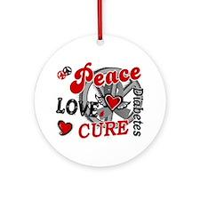 Peace Love Cure 2 Diabetes Ornament (Round)
